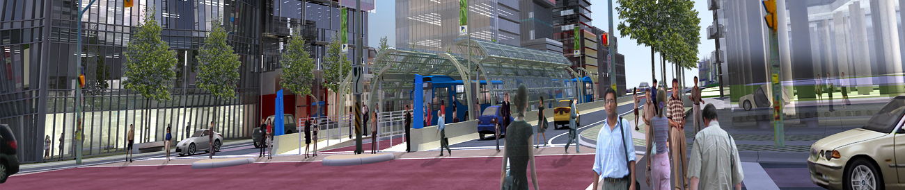 Artistic rendering of futuristic Newmarket at Yonge Street and Davis Drive