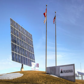 Image of Magna sign and solar panel