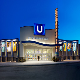 Image of Upper Canada Mall entrance at night