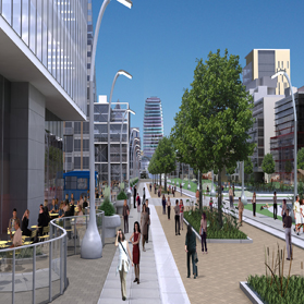 Artistic rendering of the future of Yonge Street, Newmarket