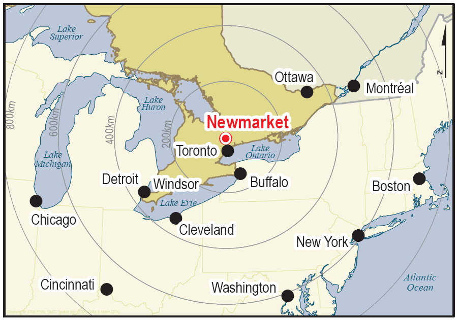 A map of the location of Newmarket.