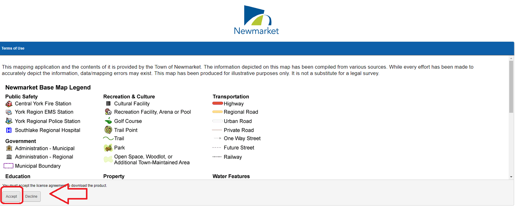 The disclaimer screen for the Navigate Newmarket map, highlighting the Continue button in the bottom left.