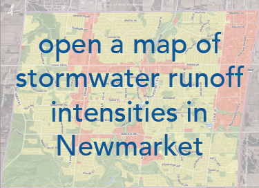 map of Newmarket showing stormwater runoff intensities with the text open a map of stormwater runoff intensities in Newmarket