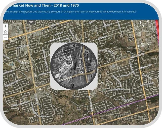 Opens map of Newmarket then and now