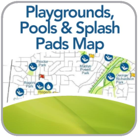 Map showing Playgrounds, Pools, Splash Pads in Newmarket