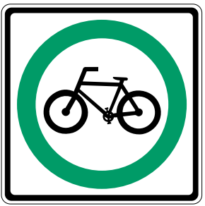 a graphic showing a 'bicycle route' sign