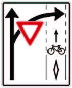 A graphic showing a 'turning vehicles yield to bicycles' sign
