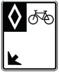 a graphic showing a 'reserved bike lane' sign