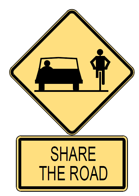 a graphic of a 'share the road' bike sign