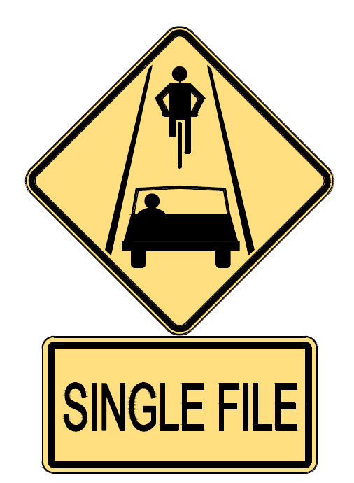 A graphic showing a 'single file' bike sign