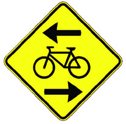 a picture of 'contraflow bicycle lane crossing' sign