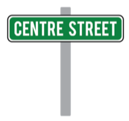 Graphic of green street sign