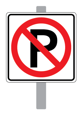Photo of a no-parking sign mounted on a grey pole