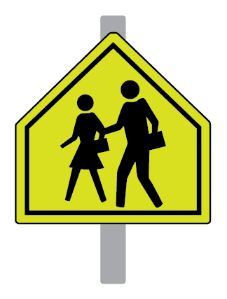 Photo of a yellow school crossing sign mounted on a grey pole