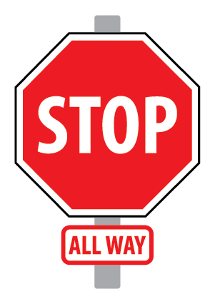 Photo of a red stop sign sign mounted on a grey pole.  There is an 'all way' tab sign underneath the stop sign