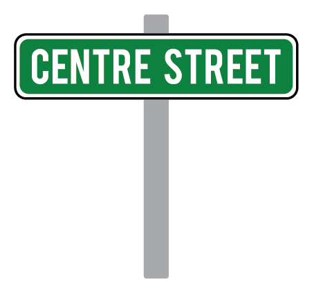Photo of a green street sign mounted on a grey pole.  It reads 'centre street'