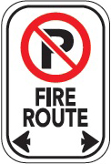 image of a no parking fire route sign