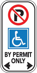 image of a by permit only no parking sign