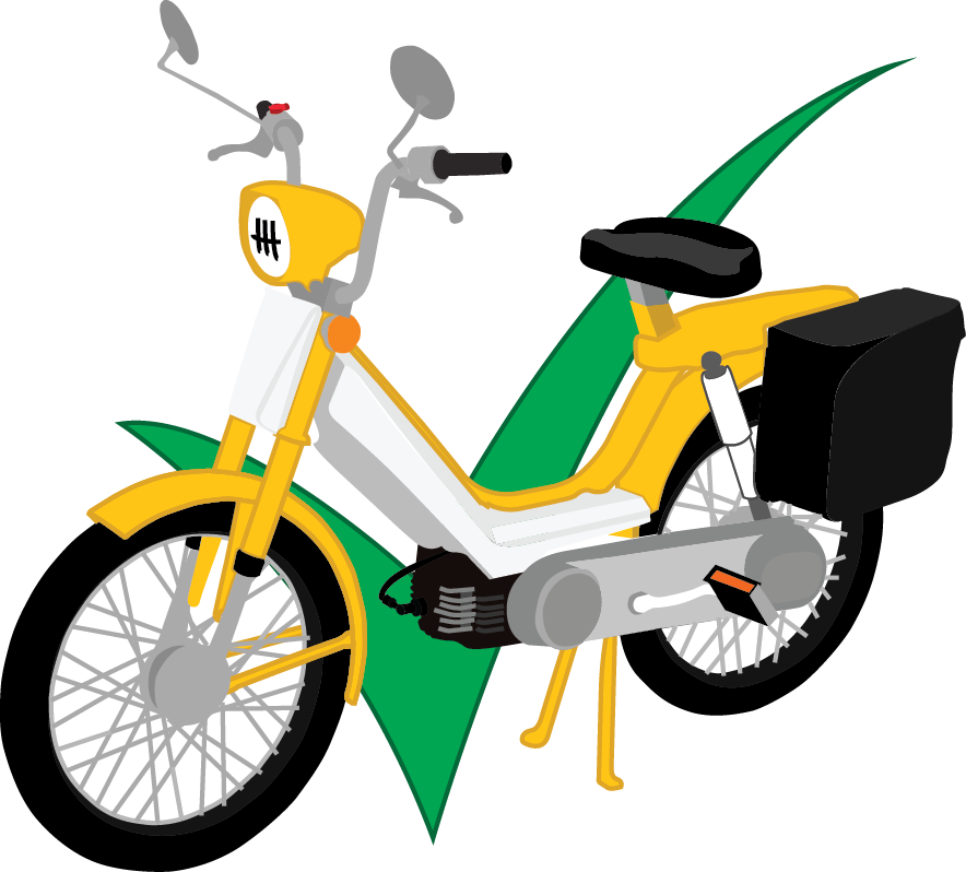 yellow and white moped with pedals infront of green check mark