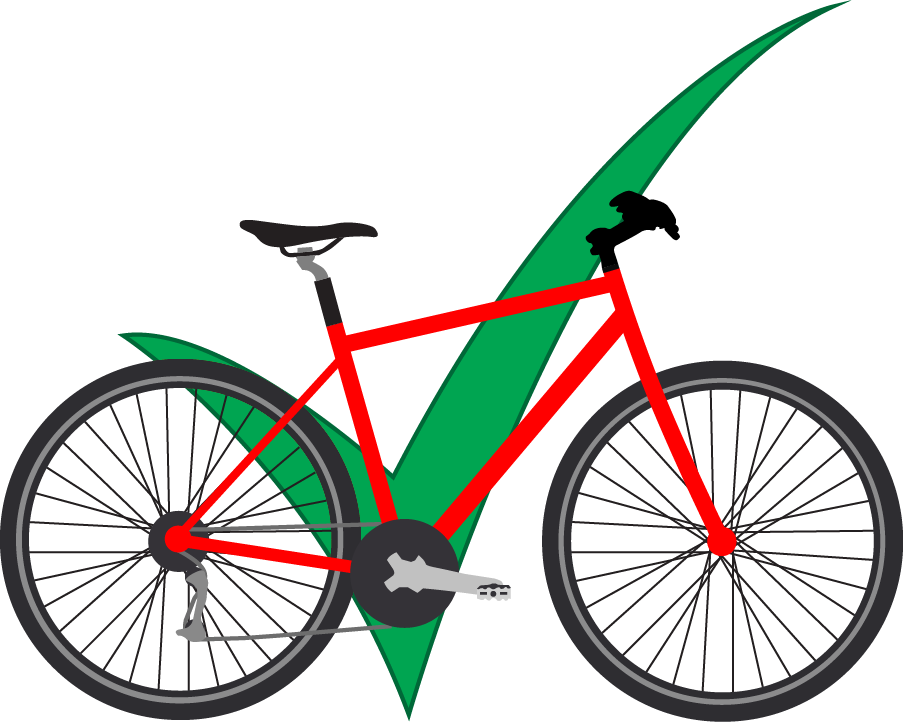 red bicycle infront of green check mark