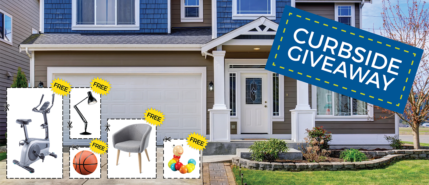image of a house that says curbside giveaway with various household items with labels saying free