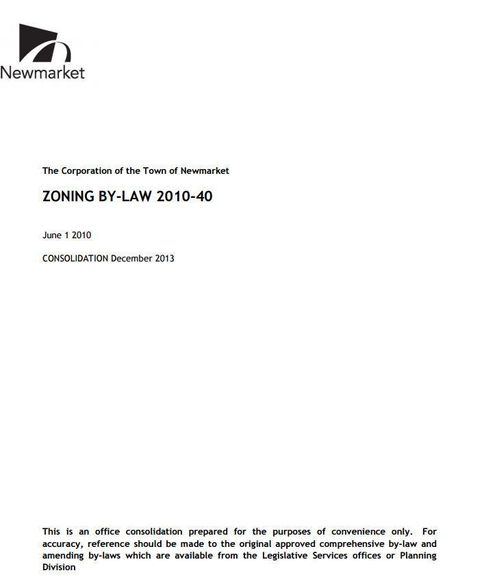 The cover page of the Town's zoning by-law.