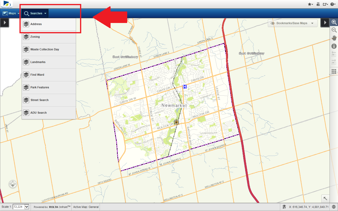 The Navigate Newmarket map, highlighting the address search in the top right.