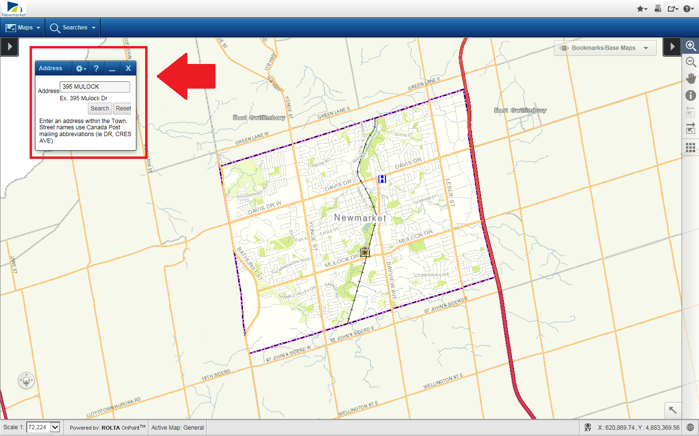 The Navigate Newmarket map, highlighting to input an address in the search field.