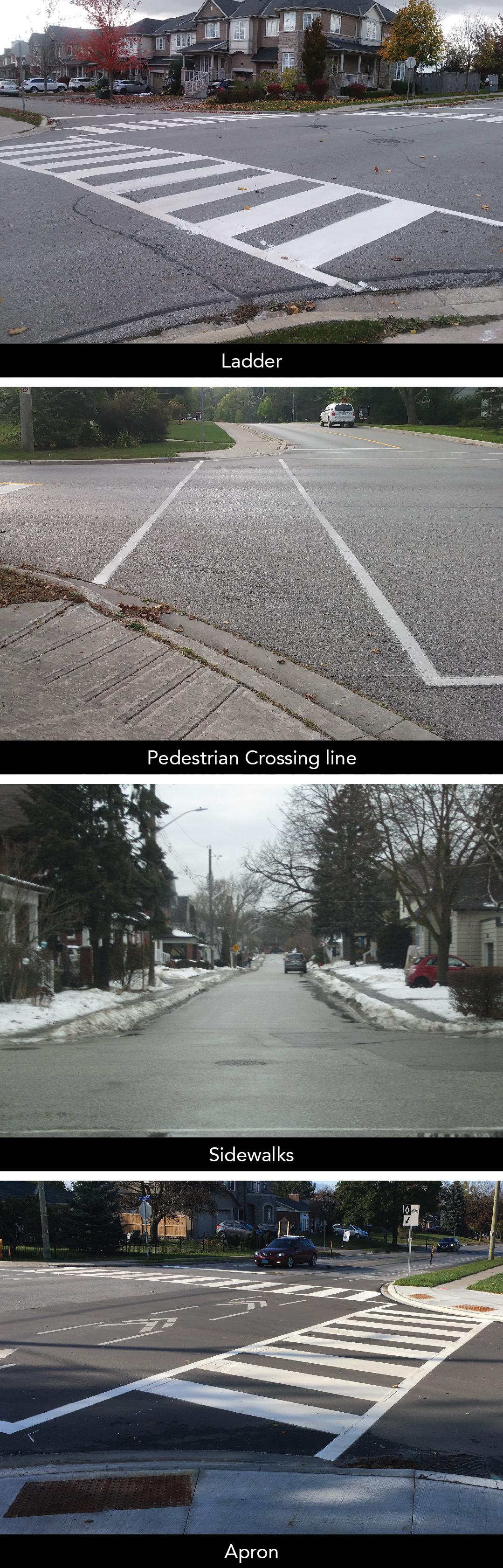Photo of Physical Improvements: ladder marking, pedestrian crossing lines, sidewalks, aprons