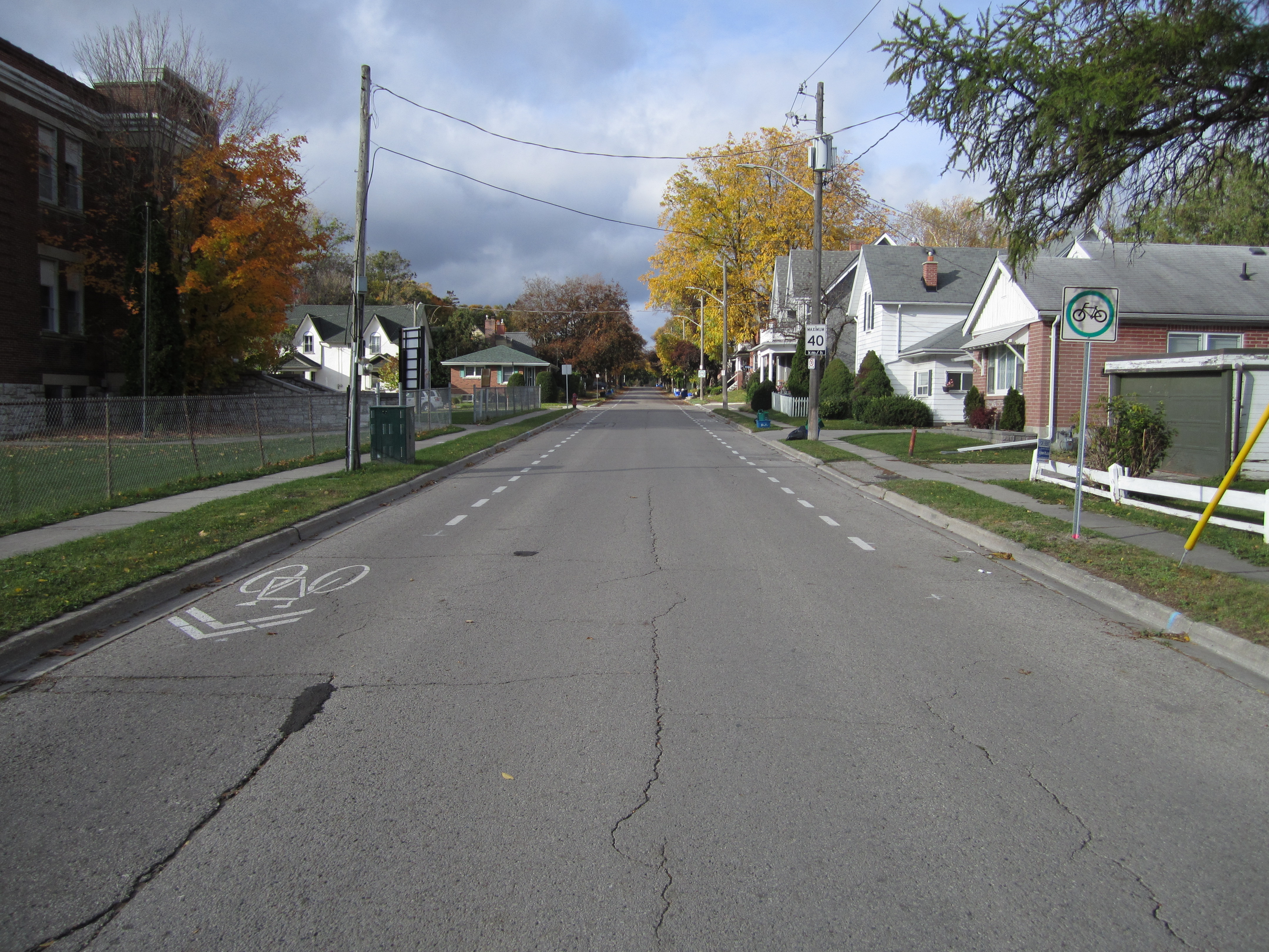 Road in Newmarket with Advisory bike lanes