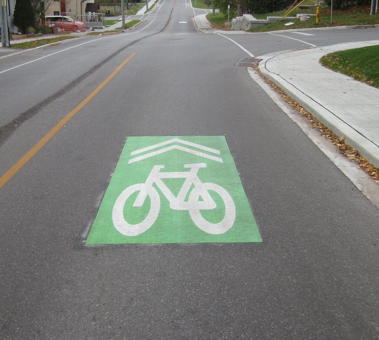 a green bike route mark on a street in Newmarket