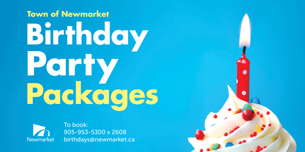Image of lit candle in a cupcake with text that reads town of newmakret birthday party packages. to book: 905-953-5399 x 2680