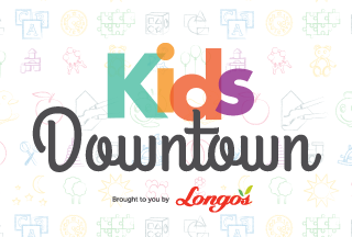 Kids Downtown brought to you by Longos Button
