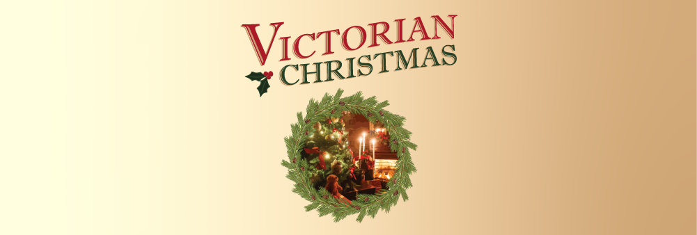 image of wreath with image of christmas tree inside. text that reads victorian christmas