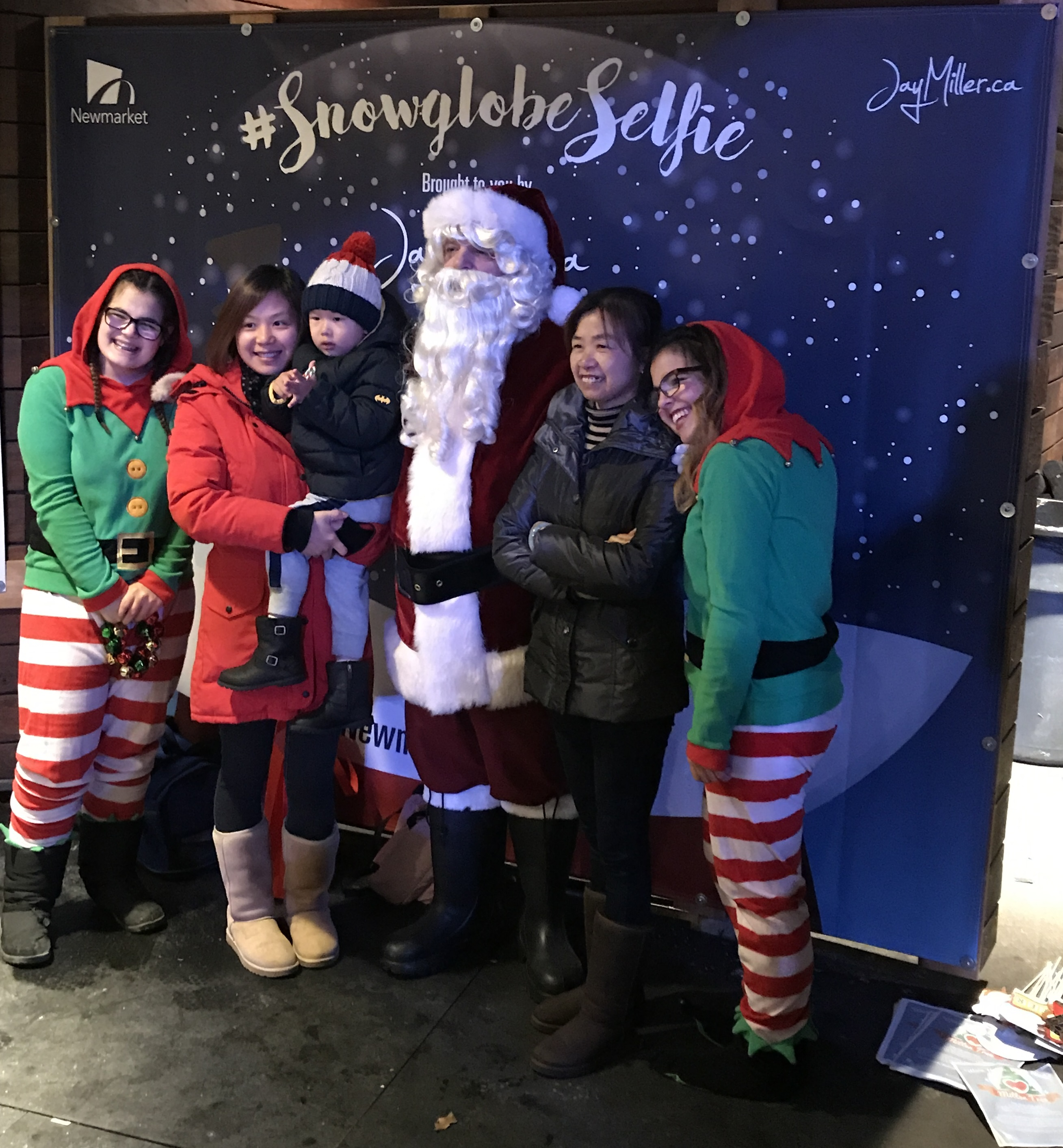 image of Snowglobe Selfie with Santa Claus and his elves
