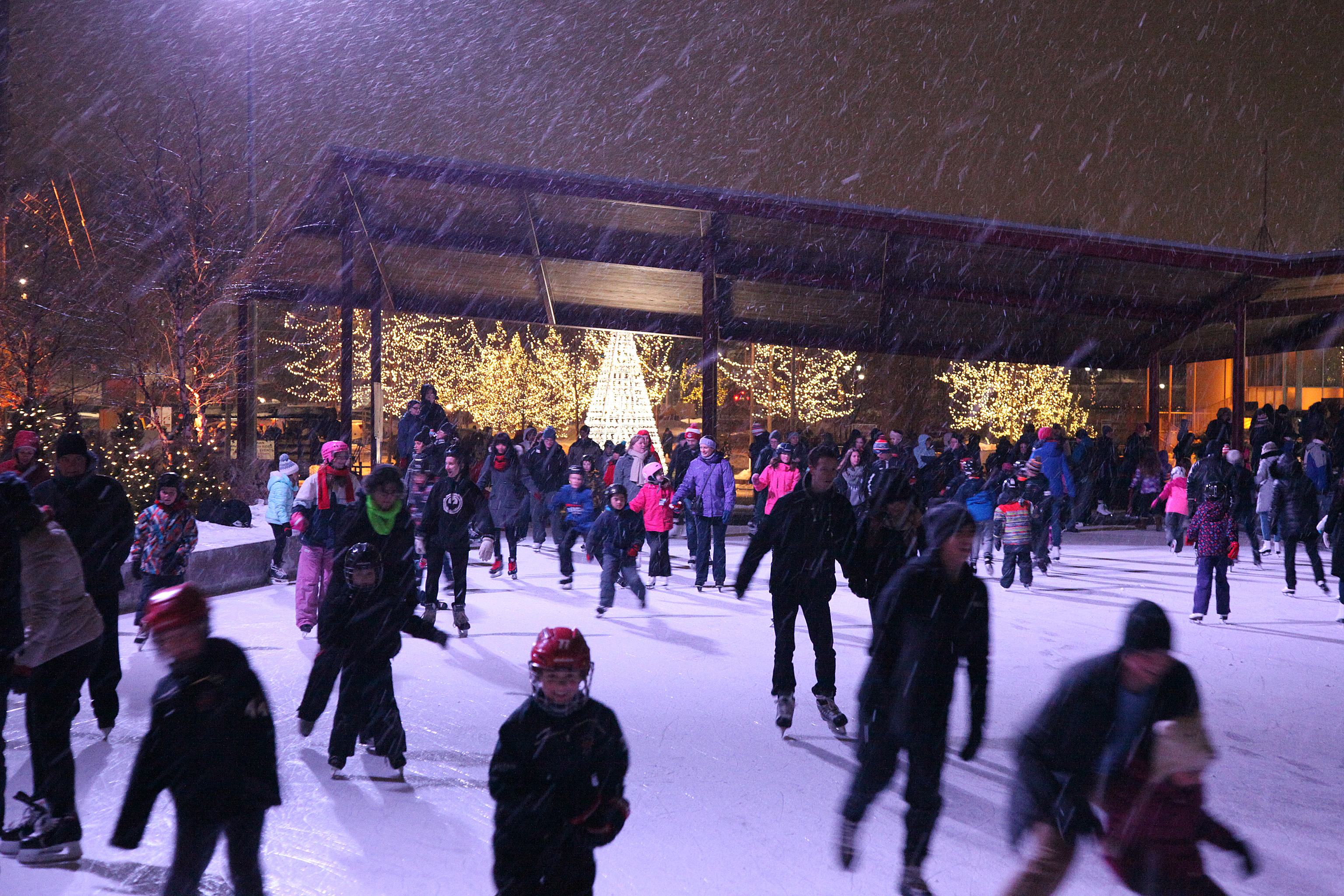 image of People Skating while it is snowing