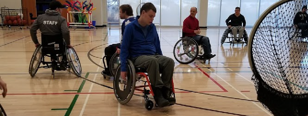 image of the base using wheelchairs during an activity