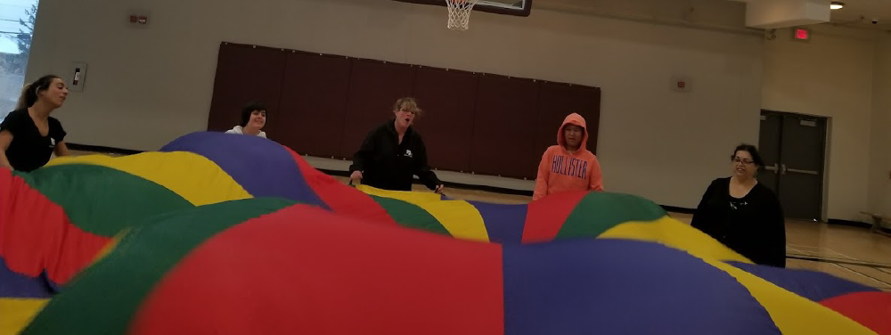 Image of patrons and staff playing a game with a gym parachute