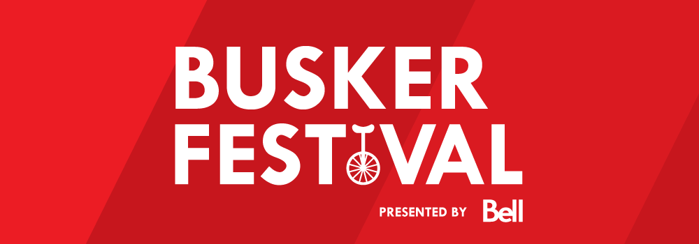 image of text that reads busker festival presented by bell