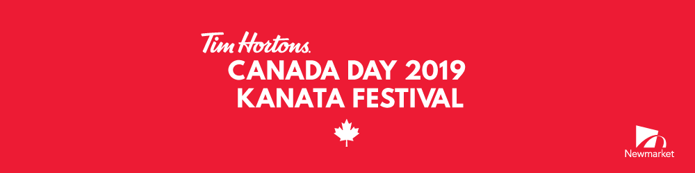 image that reads Tim Hortons Canada Day 2019 Kanata Festival Banner