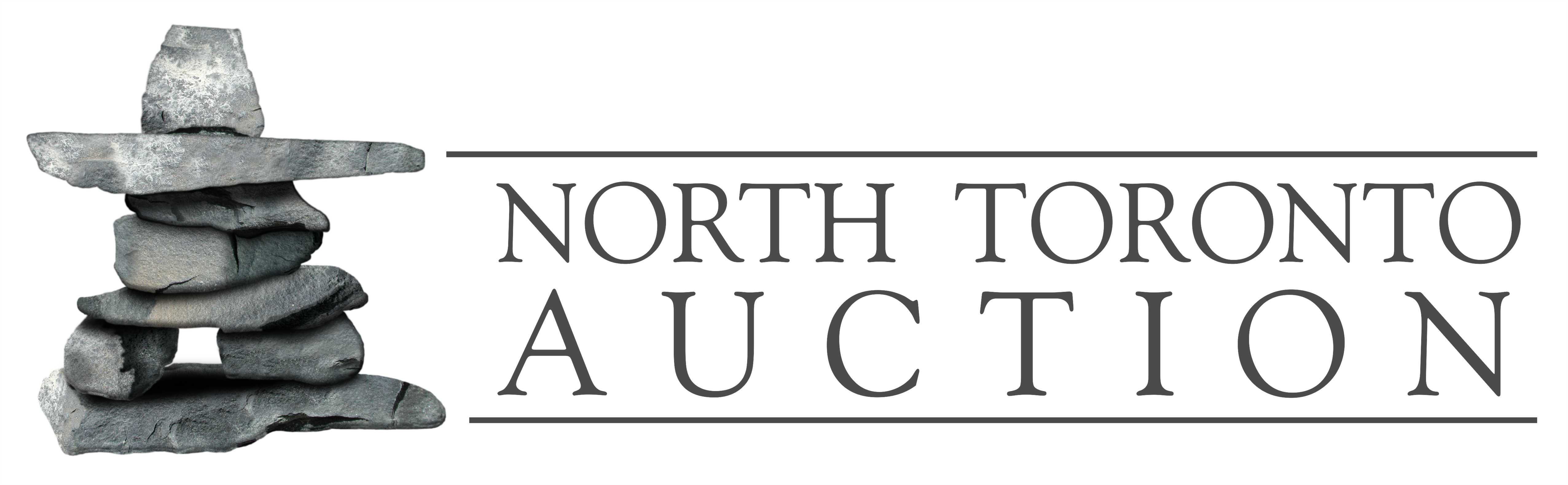 image of inuksuk with text that reads north toronto auction